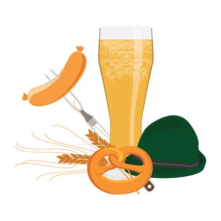 bbq barrel: Vector illustration ideal for german beer festival oktoberfest with beer cup, sausage on fork, pretzel, german green hat, wheat and german flag on background