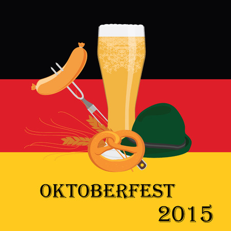 german beer: Vector illustration, background ideal for german beer festival oktoberfest with beer cup, sausage on fork, pretzel, german green hat and wheat