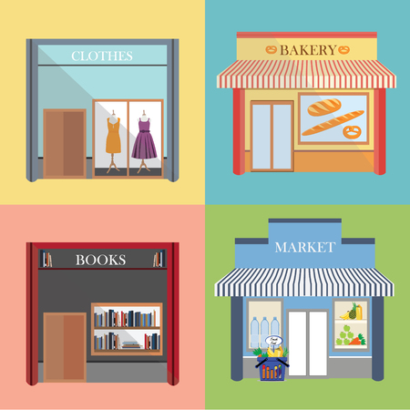 front of house: Vector flat design architecture detailed icons.  Facade with awning, book store, boutique, small bakery and grocery market. Small business icons with store facades