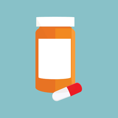 Vector illustration white pill bottle with pills and capsules on blue background. Medicine bottle Stock Illustratie