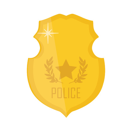special steel: Vector illustration golden police badge. Police badge icon