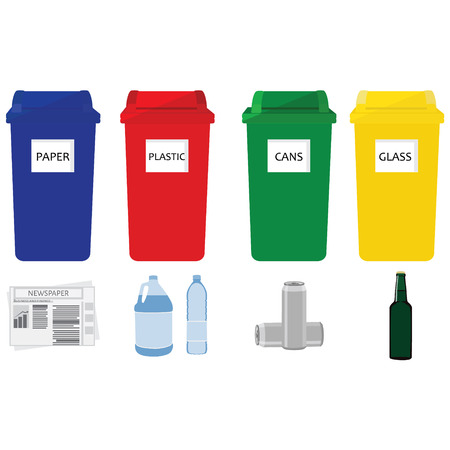 ayırma: Vector illustration of separation recycling bins with paper, cans, plastic and glass waste. Waste sorting management concept. Çizim
