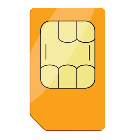 simcard: Sim card vector icon for mobile device with chip. Vector illustration realistic sim card