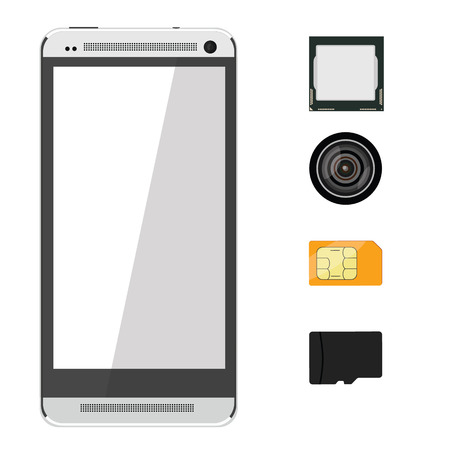 processor: Icons of the smartphone and its component parts. Sim card, sd memory card, camera and processor Illustration
