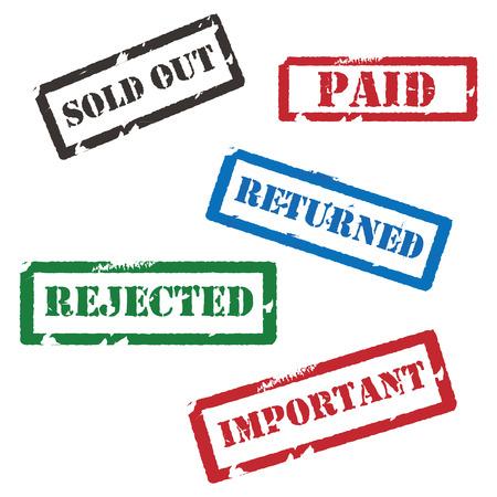 Conjunto de diversos sellos de goma del grunge de rojo, verde, azul y negro. Agotado, devuelto, rechazado, importante y pagado. Colección de sellos Foto de archivo - 45911436