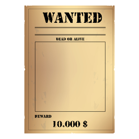 Vector illustration vintage western wanted poster template. Wild West. Old wanted placard poster template, with dead or alive inscription, money cash reward as in western movies Vectores