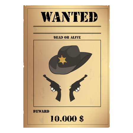lawlessness: Vector illustration vintage western wanted poster template. Wild West. Old wanted placard poster template, with dead or alive inscription, money cash reward as in western movies Illustration