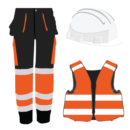 protective clothing: Orange safety clothing vector icon set with safety vest, pants and  hardhat helmet. Safety equipment. Protective work wear Illustration