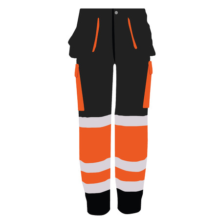 workwear overall: Vector illustration of black and orange worker pants. Safety clothing. Protective work wear. Illustration