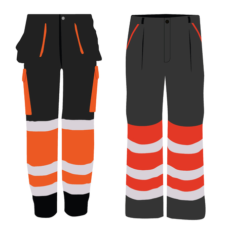Vector illustration of black and orange worker pants. Safety clothing. Protective work wear collection.