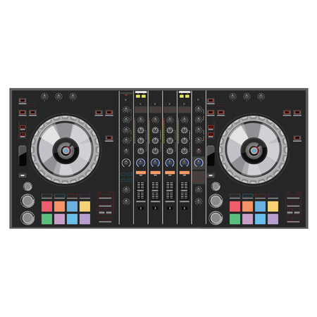 mixing console: Vector illustration dj club music console. Mixing desk production sound desk console sliders, buttons, knobs and switches