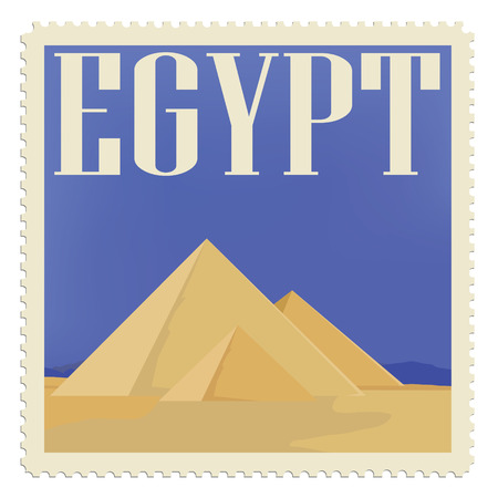 egypt pyramid: Vector illustration vintage post stamp with egypt pyramid. Travel icon