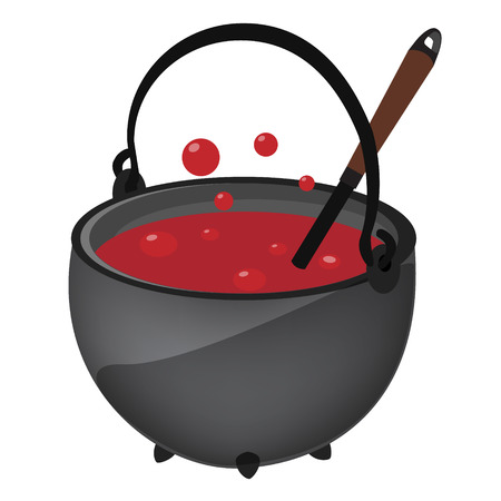 magic cauldron: Magic kettle with red poison, potion and spoon vector illustration. Cauldron. Pot vector. Halloween holiday