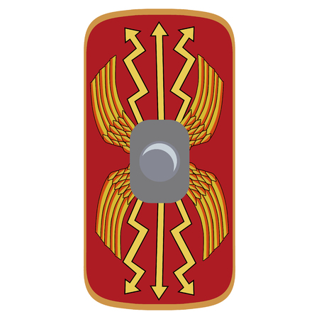 Vector illustratie romeinse rijk legionary shield. Rood schild met gele decoratie Stock Illustratie