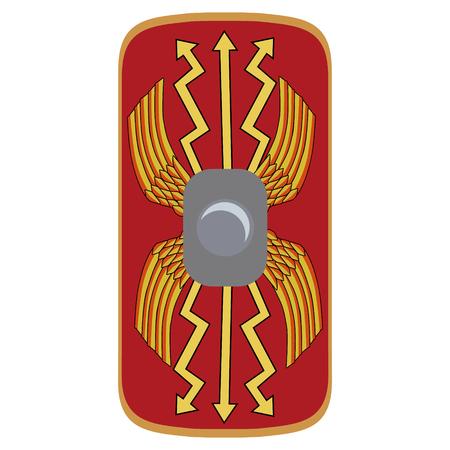 Vector illustration roman empire legionary shield. Red shield with yellow decoration