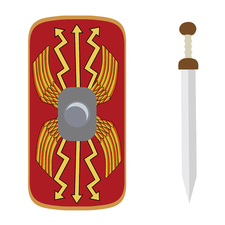 legionary: Vector illustration roman empire legionary shield and gladius roman ancient weapon