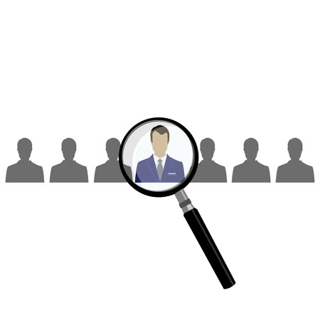 recognition: HR with magnifier looking for worker in crowd. A magnifying glass finds, selects or inspects a person in a line of people. Search  choose for employment, recognition, promotion, hire