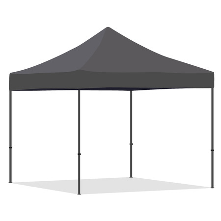 Canopies: Grey folding tent vector illustration. Pop up gazebo. Canopy tent