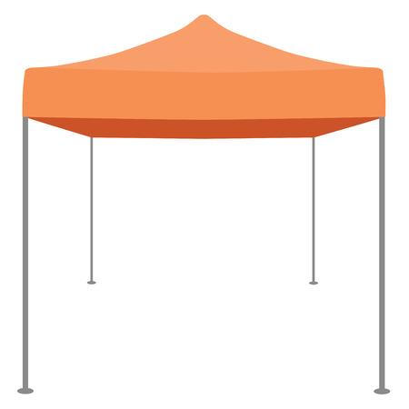 Oranje vouwtent vector illustratie. Pop up tuinhuisje. luifel tent Vector Illustratie