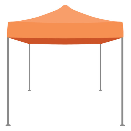 Orange folding tent vector illustration. Pop up gazebo. Canopy tent