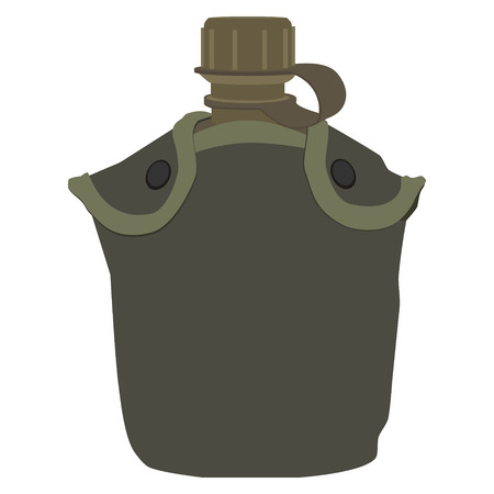 cantine: Army water canteen with case icon. Vector illustration of military canteen or flask. Jar of water use in the campaign. Illustration
