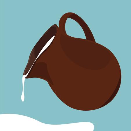 Vector illustratie gieten verse melk van keramische kruik op een blauwe achtergrond. Stock Illustratie