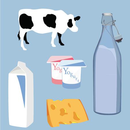 caja de leche: Ilustración vectorial icono de producto lácteo establecer el yogur, el queso, la leche y la vaca símbolo sobre fondo azul