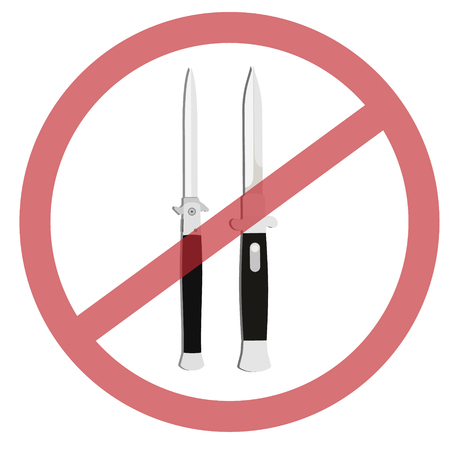 no prohibition: No weapon allowed, prohibited sign vector illustration. Knife cross out