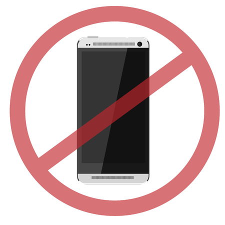 use regulation: Round red no mobile phone icon vector isolated, no cell phones, symbol, smartphone