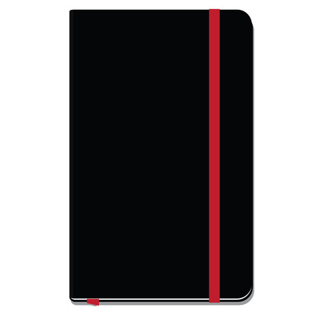 elastic band: Blank copybook template with elastic band and bookmark. Black copybook moleskin
