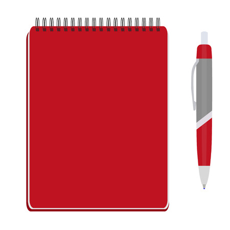 spiral notebook: Vector illustration of red spiral notepad, diary, notebook or personal organizer with ball pen. Closed notebook. Red notebook cover