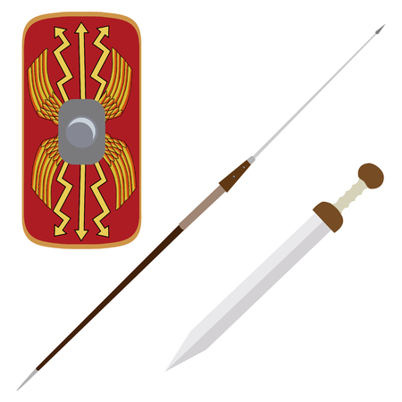 legionary: Vector illustration roman empire legionary shield, spade and gladius roman ancient weapon Illustration
