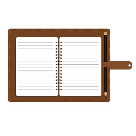 spiral notebook: Vector illustration of personal organizer, diary or notebook. Opened organizer in brown leather cover  with pencil. Notebook with spiral and blank lined paper Illustration