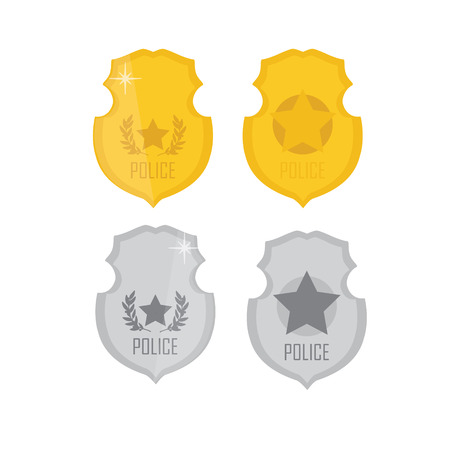 police state: Vector illustration golden and silver police badge. Police badge icon set Illustration