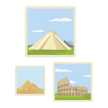 Vector illustration vintage post stamps with architectural historical sites. Travel icon. CHichen itza in Mexico. Colosseum in Rome. Giza pyramids in Egypt. Postage stamp set Stock Illustratie