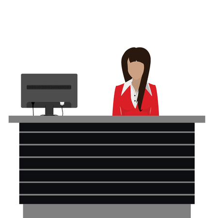 Vector illustration happy female receptionist standing at hotel. Professional concierge at hotel reception desk Ilustração