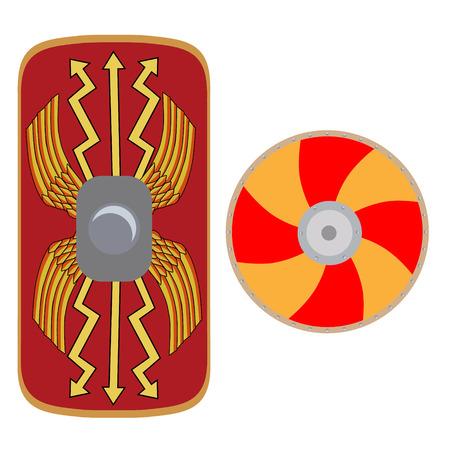 roman empire: Vector illustration roman legionary shield and viking shield