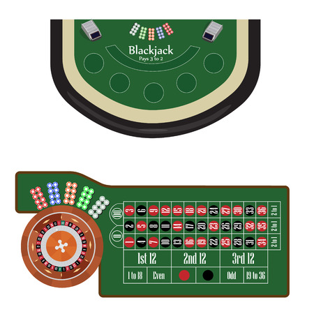 roulette table: American roulette table with roulette wheel and ball, different colors chips vector illustration. Blackjack table. Gambling game