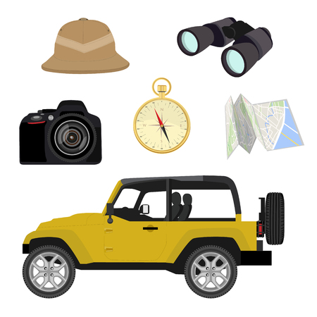 camping pitch: Vector safari travel icon set with compass, camera, pitch helmet, binoculars, map and jeep car Illustration