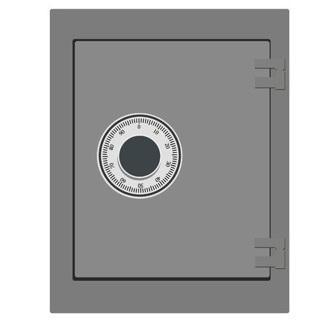 Ilustración del vector de seguridad de un banco cerrado. Icono del dinero del seguro. Caja fuerte de acero. Concepto de seguridad de metal con icono de seguros
