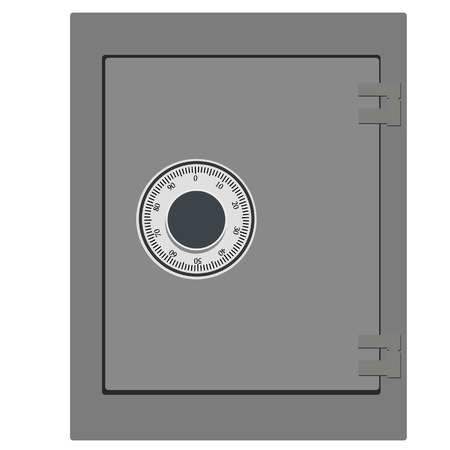 Vector illustration of closed bank safe. Money safe icon. Steel safe. Security concept with metal safe icon