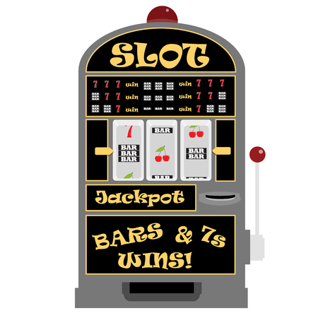 Vector illustration slot machine with symbols cherry, seven and bar. Vectores