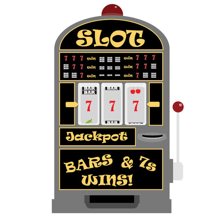 Vector illustration slot machine with symbols cherry, seven and bar. Lucky seven. Winning on seven Ilustrace