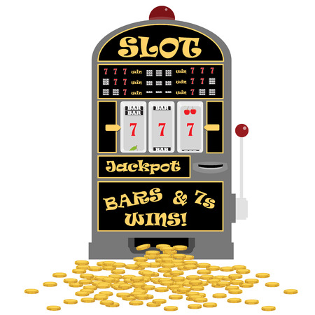 losing money: Vector illustration slot machine with symbols cherry, seven and bar. Lucky seven. Winning on seven. Golden coins Illustration