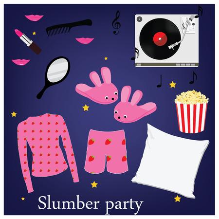 pijamada: Fiesta de pijamas símbolos de invitación, elementos. Sleepover. Zapatillas pijama en casa palomitas espejo música y almohada peine