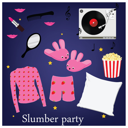 sleepover: Slumber party invitation symbols, elements. Sleepover. Pajama home slippers popcorn music mirror and comb pillow