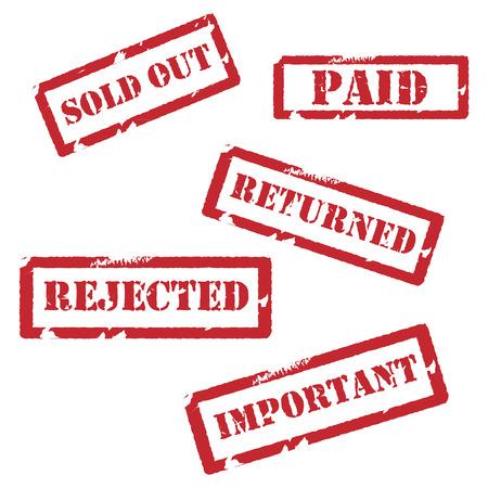 sello: Conjunto de diferentes sellos de goma del grunge rojo. Agotado, regresó, rechazado, importante y pagado. Colección de sellos