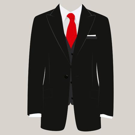 traje formal: Ilustración del vector del juego del hombre de negro con corbata roja y camisa blanca sobre fondo gris. Traje de negocios, negocios, traje de hombre, hombre de traje