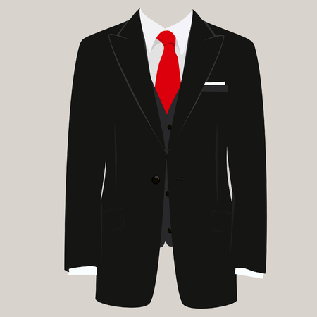 businessman suit: Vector illustration of  black man suit with red tie and white shirt on grey background. Business suit, business, mens suit, man in suit