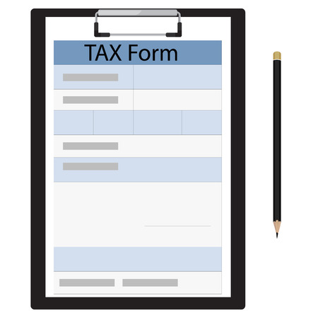 tax form: Vector illustration  black clipboard with income tax form and black pencil. Federal income tax form. Tax return